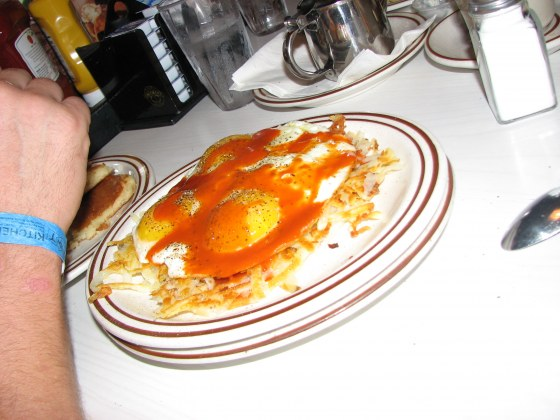 Hot sauce and eggs.